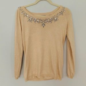 Cyrus | Jeweled bling pullover sweater camel tan S